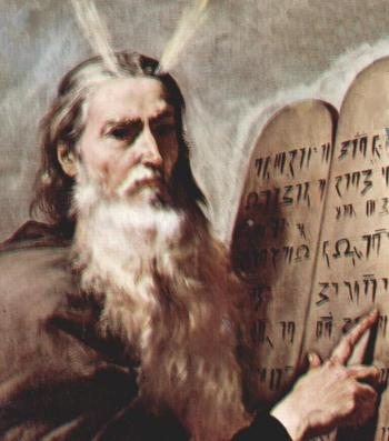Moses holding both tables of the Law