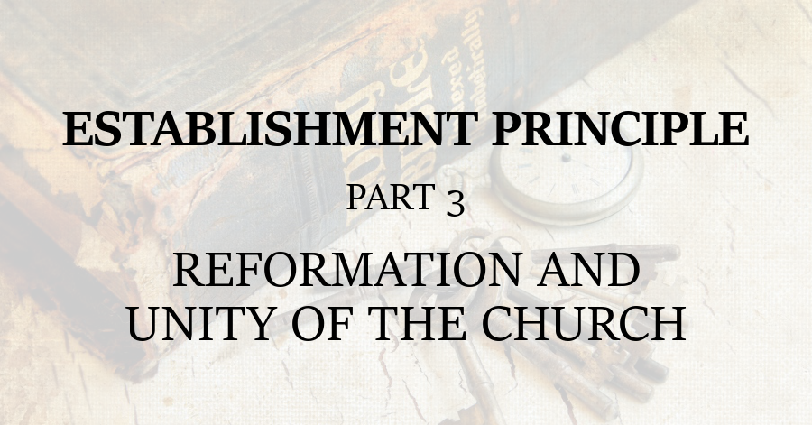 Establishment Principle 3 Reformation and Unity of the Church