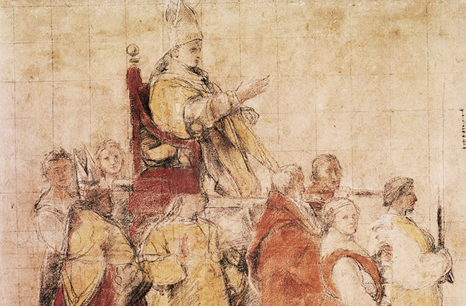 Pope Sylvester I Carried in the Sedia Gestatoria, with His Retinue by Raphael.